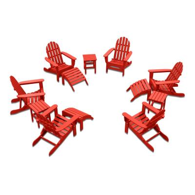 Icon Bright Red 12-Piece Plastic Adirondack Patio Conversation Seating Set