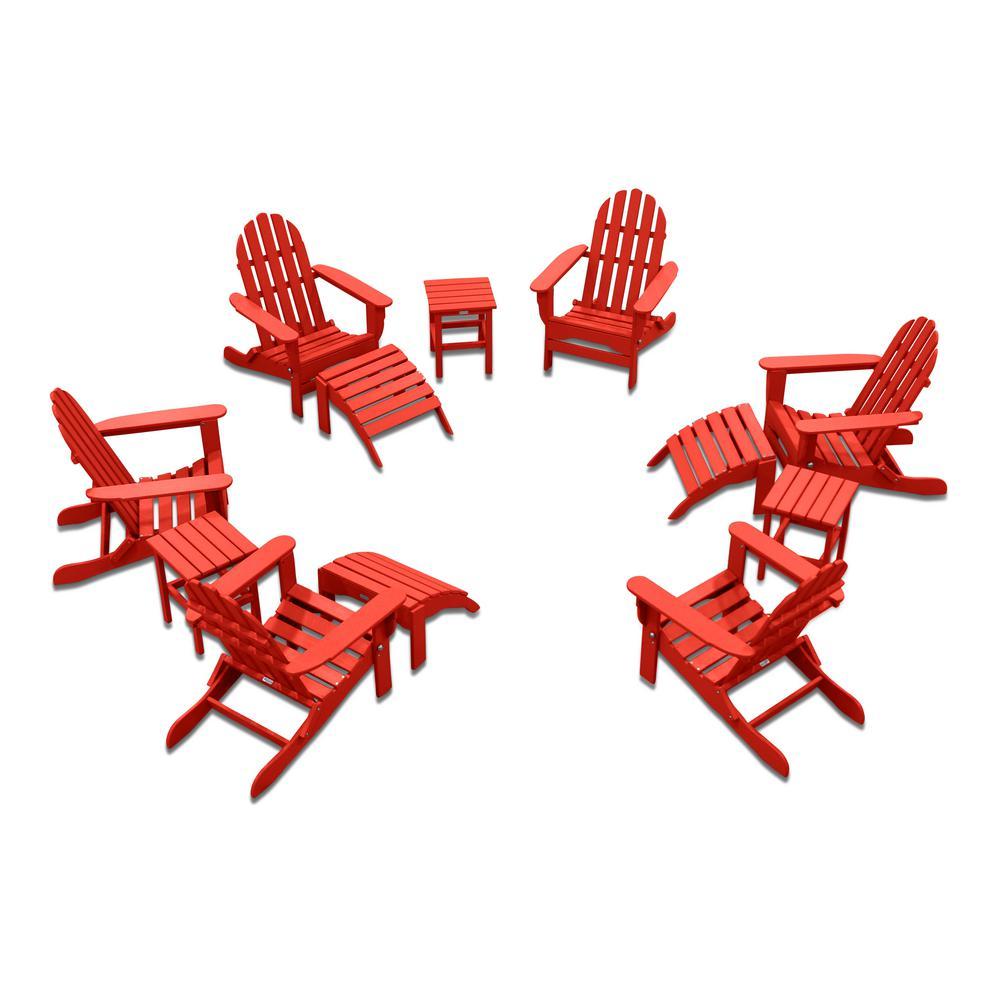 Icon Bright Red 12-Piece Plastic Adirondack Patio Conversation Seating Set