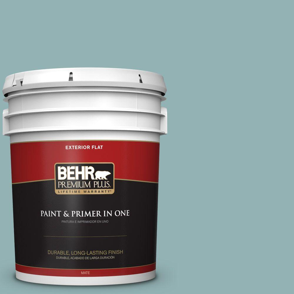 BEHR Premium Plus 5-gal. #500F-5 Gulf Winds Flat Exterior Paint