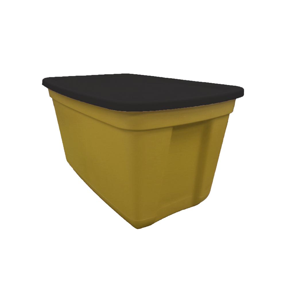 20 Gal. Storage Tote Gold Rush Base-Black Belt Lid