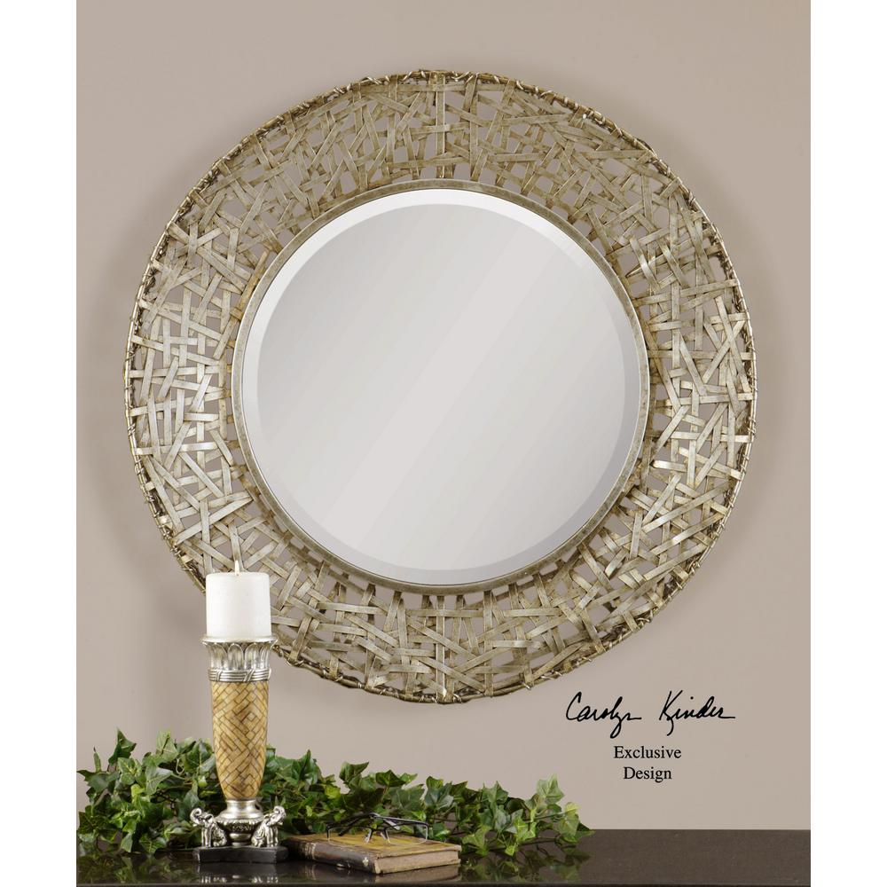 Champagne Round Framed Mirror 11603 B The Home Depot