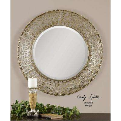 32 in. x 32 in. Champagne Round Framed Mirror