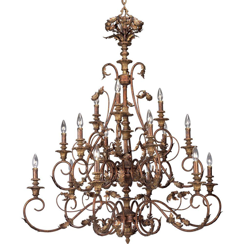 Progress Lighting Elysian Collection Golden Brandy 15-light Chandelier-DISCONTINUED
