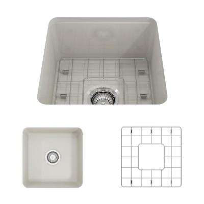 Sotto Undermount Fireclay 18 in. Single Bowl Kitchen Sink with Bottom Grid and Strainer in Biscuit