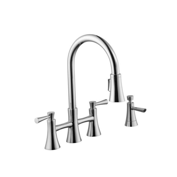 Schon 925 Series 2-Handle Pull-Down Sprayer Bridge Kitchen Faucet with Soap Dispenser in Chrome