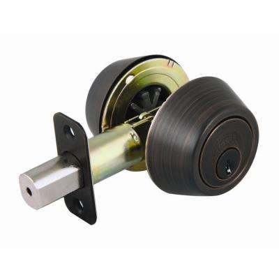 Double Cylinder Brushed Bronze Deadbolt
