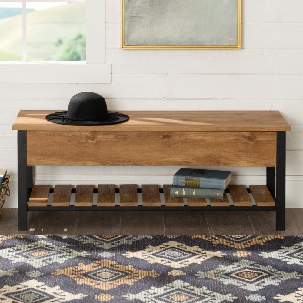 48 in. Barnwood Open-Top Storage Bench with Shoe Shelf