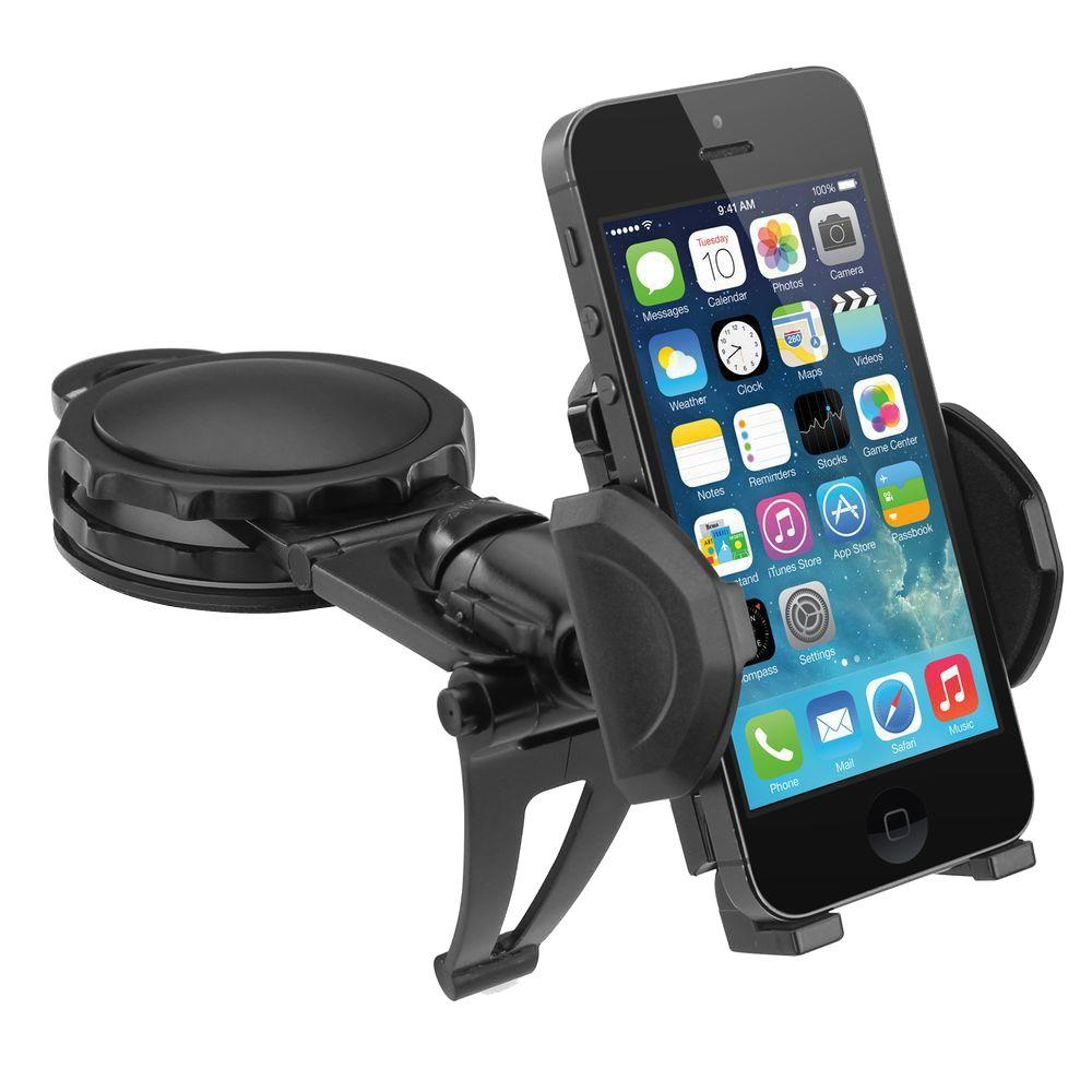 Universal Fully Adjustable Car Dash Mount for Smartphones Android and GPS Rotatable Grips Expands and Adheres, Black