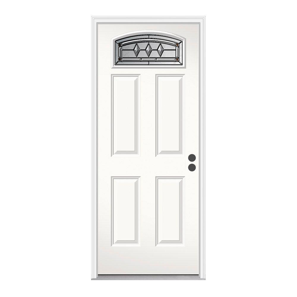 JELD-WEN 36 in. x 80 in. Camber Top Mission Prairie Primed Steel Prehung Left-Hand Inswing Front Door w/Brickmould