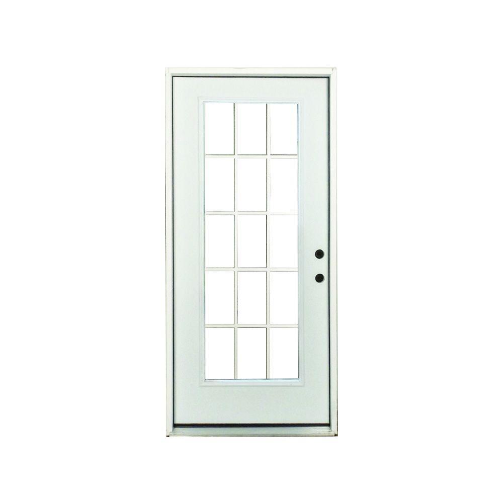 32 in. x 80 in. Premium Left-Hand 15-Lite External Grille Primed White Fiberglass Prehung Front Door