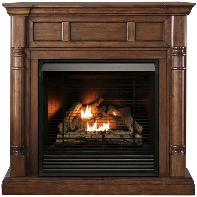 32,000 BTU Ventless Dual Fuel Fireplace in Walnut with Remote Control