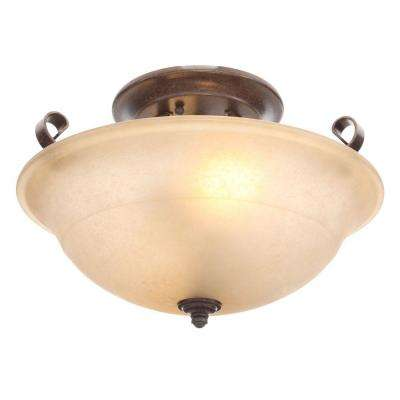 Essex 15 in. 2-Light Aged Black Semi-Flushmount with Tea Stained Glass Shade