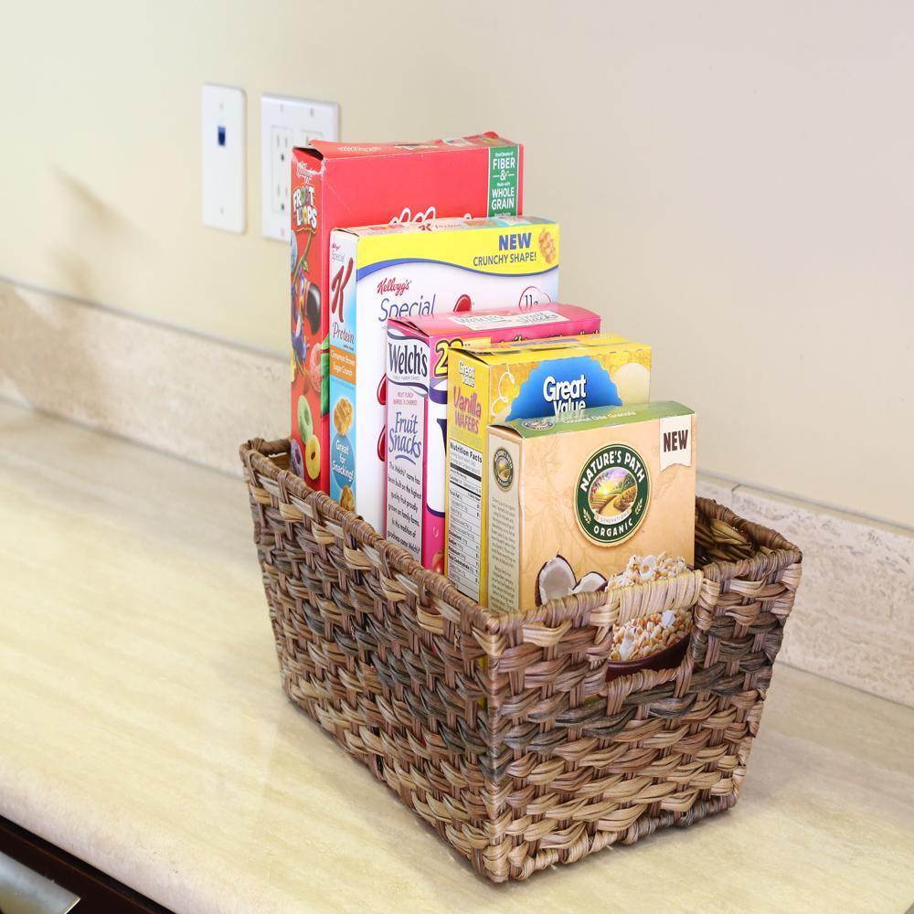 Square Polyethylene Handwoven Nesting Storage Basket (Set of 2)