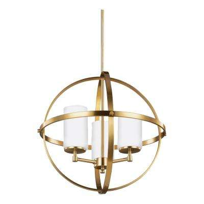 Alturas 3-Light Satin Bronze Chandelier with LED Bulbs
