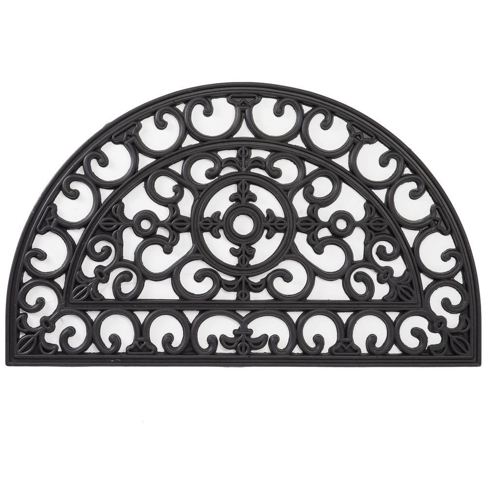 Envelor Wrought Iron Collection Black Half Round Fleur De Lis Filigree 18 In X 30 In Rubber
