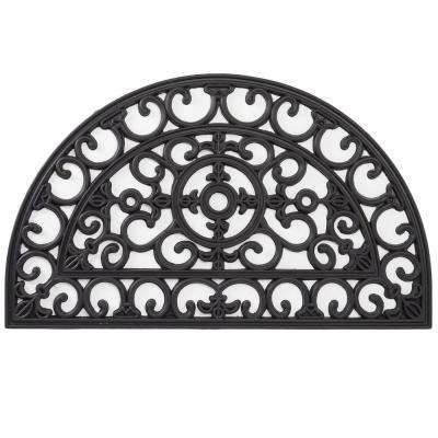 Wrought Iron Collection Black Half Round Fleur de Lis Filigree 18 in. x 30 in. Rubber Outdoor/Indoor Door Mat