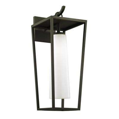Mission Beach 1-Light Textured Black 23 in. H Outdoor Wall Mount Sconce with Opal White Glass