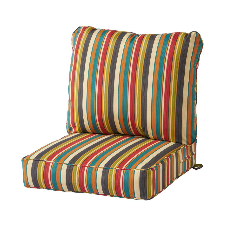 Greendale Home Fashions Sunset Stripe 2 Piece Deep Seating Outdoor Lounge Chair Cushion Set