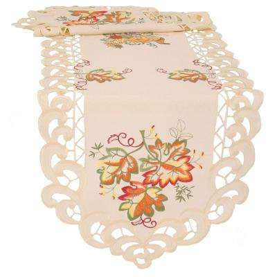 0.1 in. H x 15 in. W x 72 in. D Thankful Leaf Embroidered Cutwork Fall Table Runner
