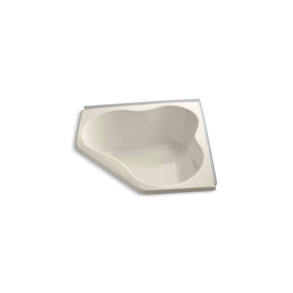 KOHLER ProFlex 4.5 ft. Corner Drop-in Center Drain Bathtub in Almond