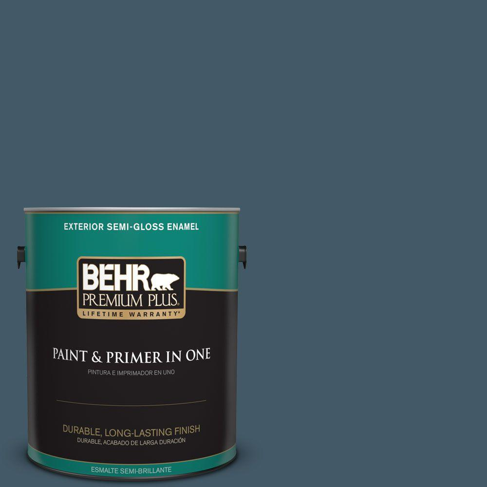 1-gal. #S480-7 Midnight in the Tropics Semi-Gloss Enamel Exterior Paint