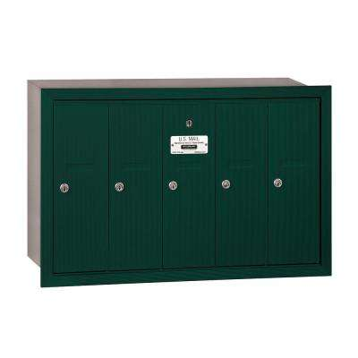 3500 Series Green Recessed-Mounted Private Vertical Mailbox with 5 Doors