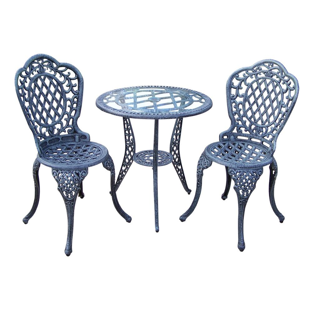 Mississippi Verdi Grey 3 Piece Aluminum Outdoor Bistro Set Hd2055 Vg The Home Depot