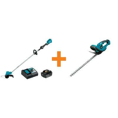 18-Volt LXT Brushless String Trimmer Kit with 1 Battery and Charger with Bonus 22 in. LXT Cordless Hedge Trimmer