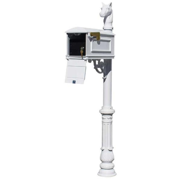 Lewiston White Post Mount Locking Insert Mailbox with Ornate Base and Horsehead Finial