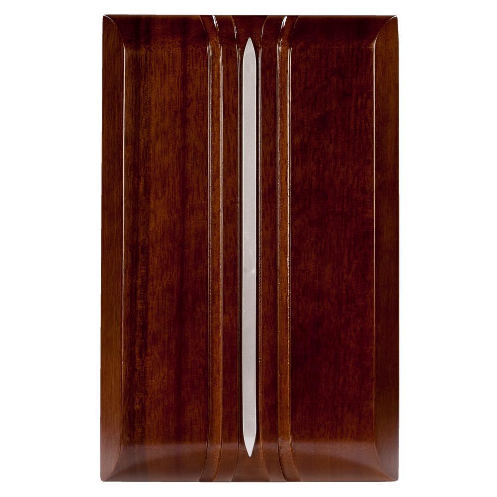 Wireless or Wired Door Bell in Dark Oak Wood with Silver Insert