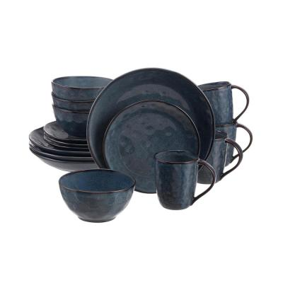 Taite 16-Piece Reactive Glaze Midnight Blue Stoneware Dinnerware Set (Service for 4)