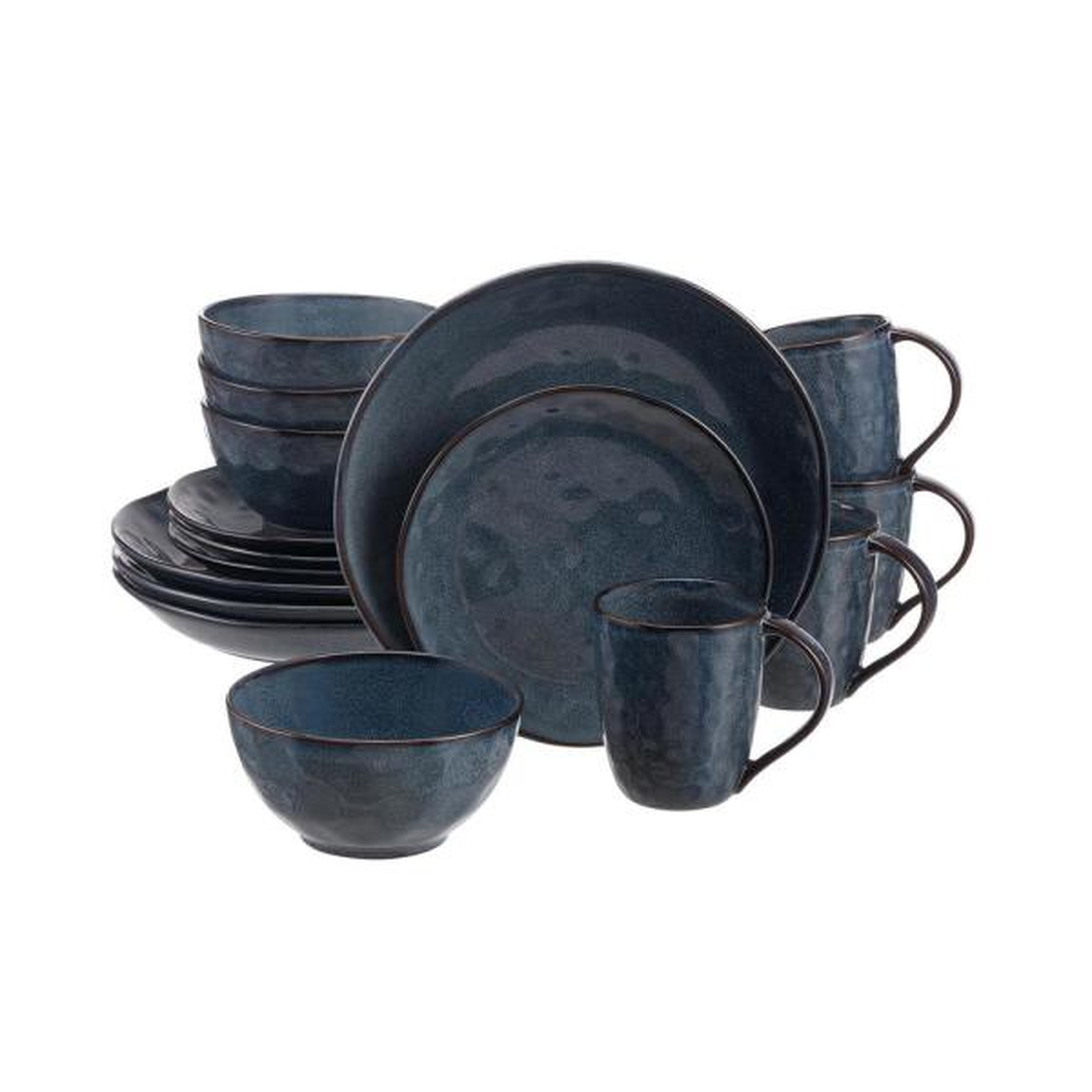 Taite 16-Piece Reactive Glaze Midnight Blue Stoneware Dinnerware Set (Service for 4)