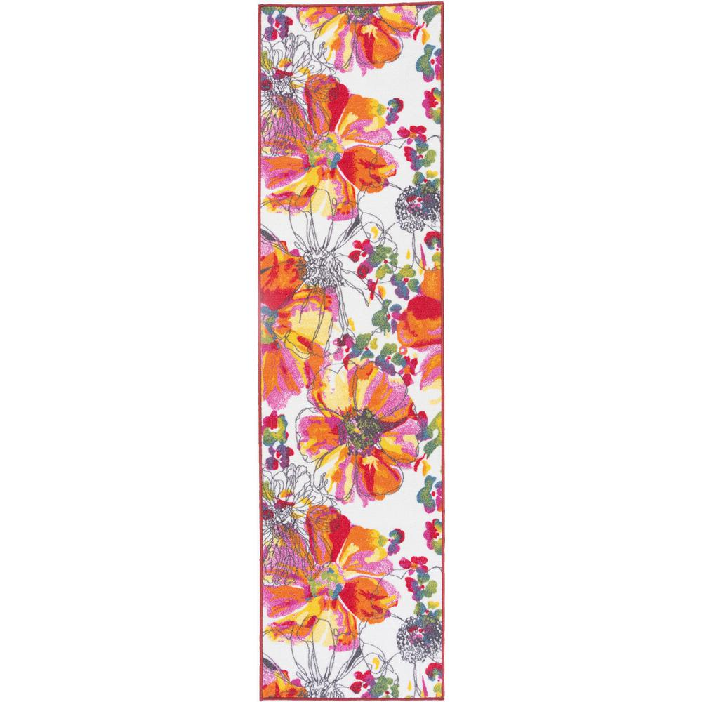 Modern Bright Flowers Non Slip Non Skid Multi Area Rug Runner 2 Ft