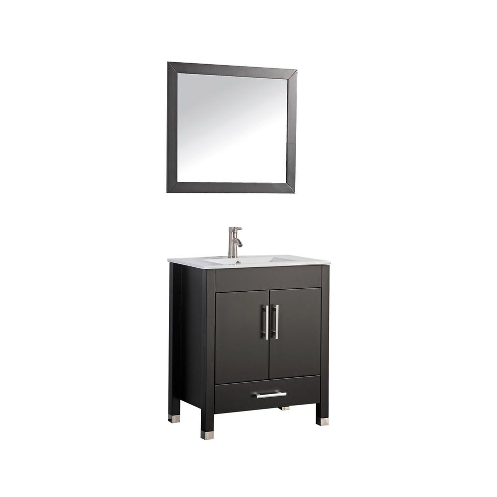 MTD Vanities Monaco 30 in. W x 18 in. D x 36 in. H Vanity in Espresso with Porcelain Vanity Top in White with White Basin and Mirror