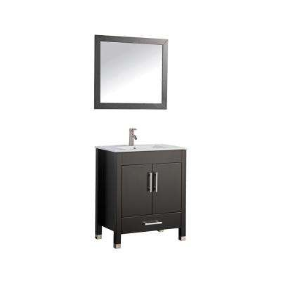 Monaco 30 in. W x 18 in. D x 36 in. H Vanity in Espresso with Porcelain Vanity Top in White with White Basin and Mirror