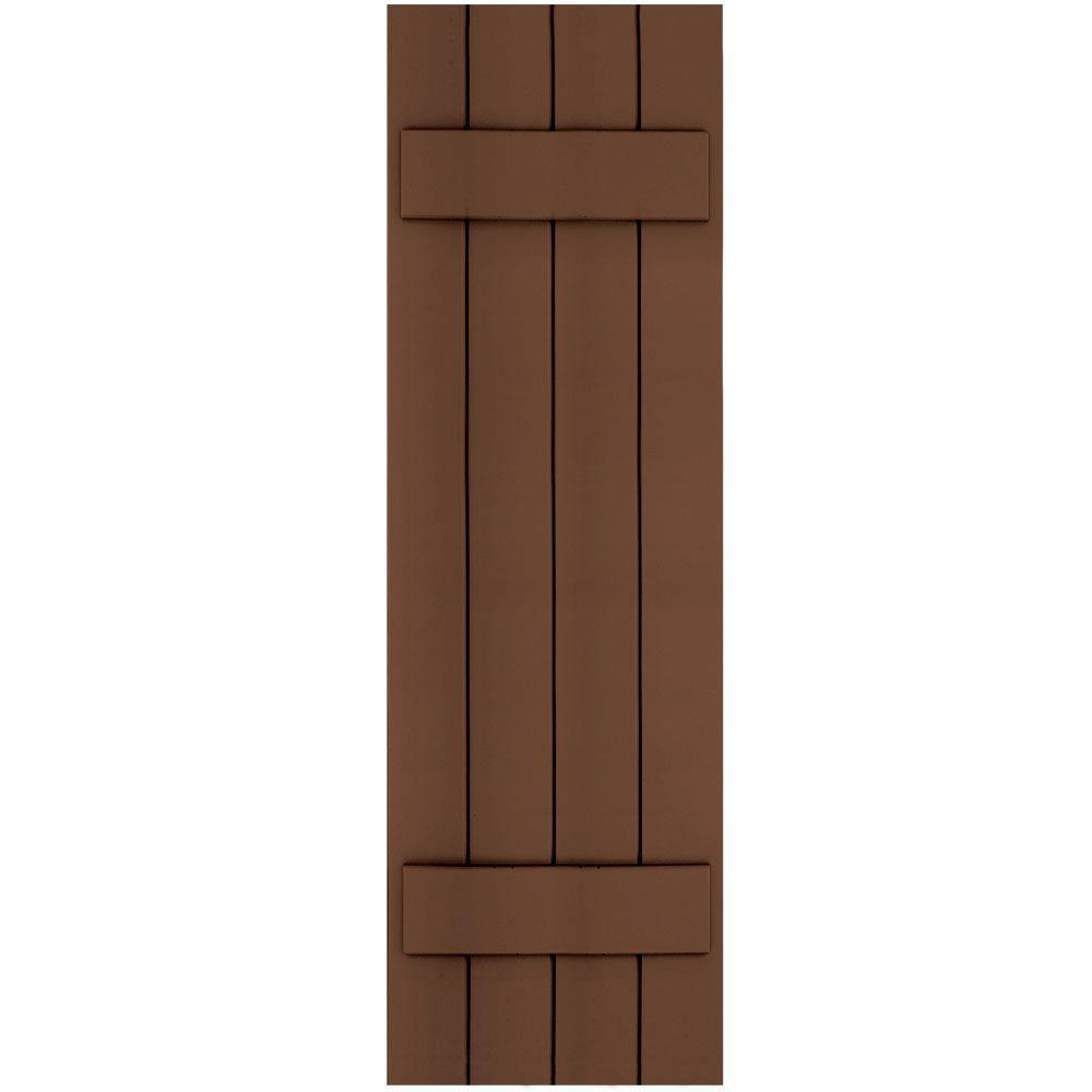 Winworks Wood Composite 15 in. x 50 in. Board & Batten Shutters Pair #635 Federal Brown