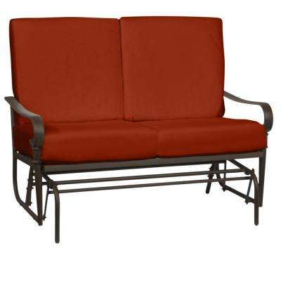 Oak Cliff Brown Steel Outdoor Patio Glider with CushionGuard Quarry Red Cushions