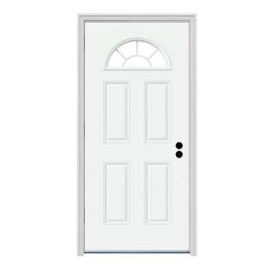 Fanlite Painted Premium Steel Prehung Front Door with Brickmould