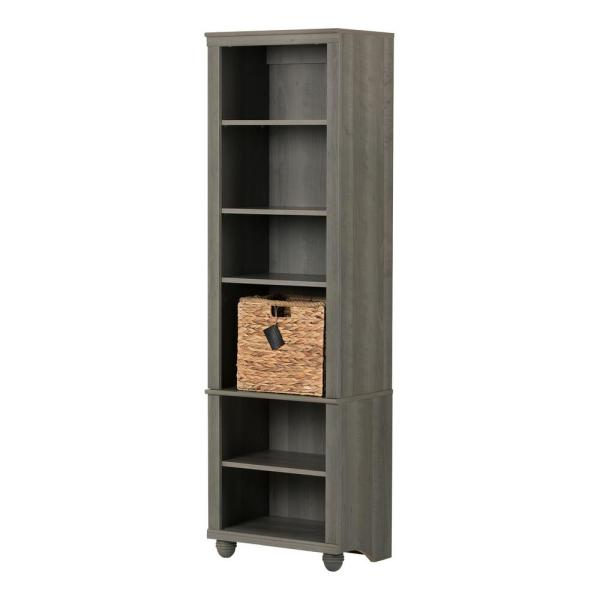 South Shore Hopedale Gray Maple and Beige 6-Shelf Bookcase 100263