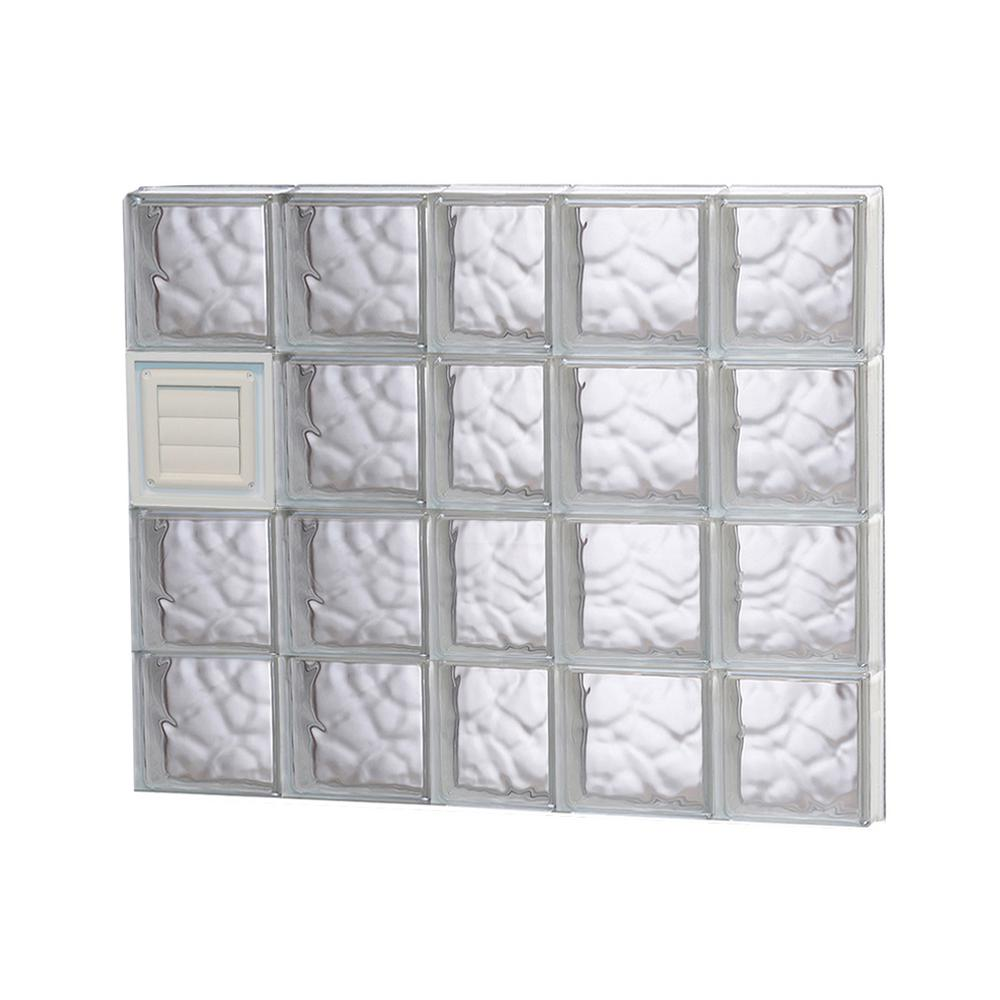 Clearly secure in x 31 in x in wave pattern for Where to buy glass block windows
