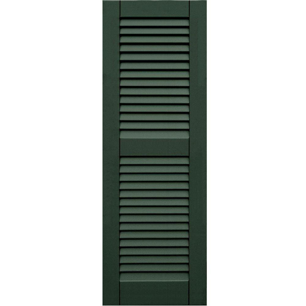 Winworks Wood Composite 15 in. x 44 in. Louvered Shutters Pair #656 Rookwood Dark Green