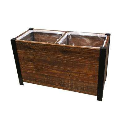 28 in. x 17.75 in. Urban Garden Brown Recycled Wood Planter