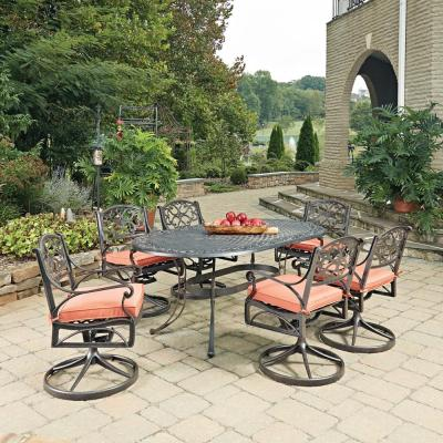 Biscayne Rust Bronze 7-Piece Cast Aluminum Outdoor Dining Set with Coral Cushions