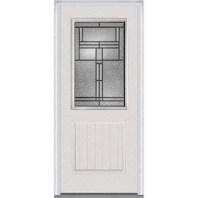 36 in. x 80 in. Brighton Right-Hand 1/2-Lite Decorative 1-Panel Planked Primed Fiberglass Smooth Prehung Front Door