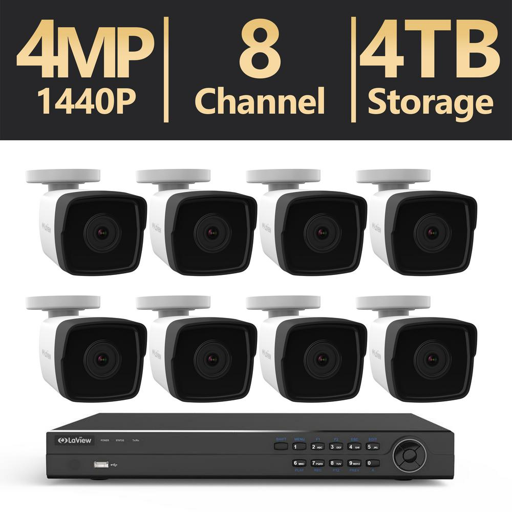 8-Channel 4MP Full HD 1440p 4TB Hard Drive NVR Surveillance System