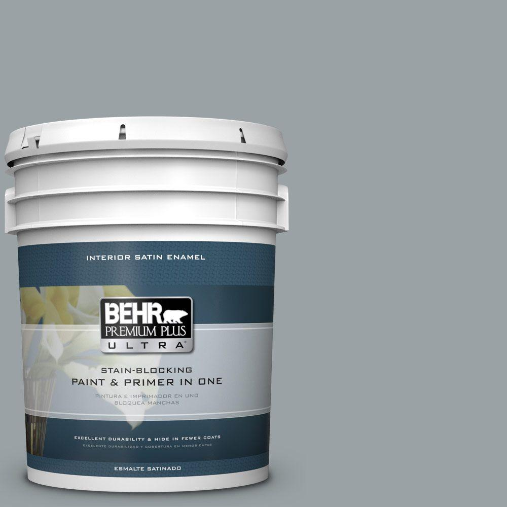 5 gal. #HDC-SM16-02 River Rock Grey Satin Enamel Interior Paint