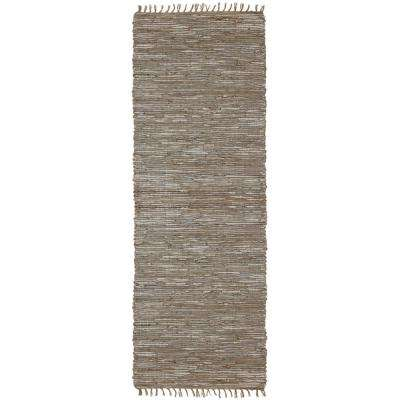 White Leather and Hemp 2 ft. 6 in. x 14 ft. Runner