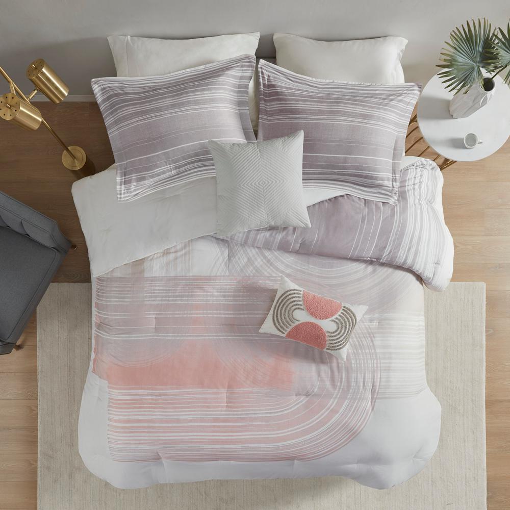 Urban Habitat Adrian 5 Piece Blush Grey King Cal King Cotton Printed Comforter Set Uh10 2314 The Home Depot