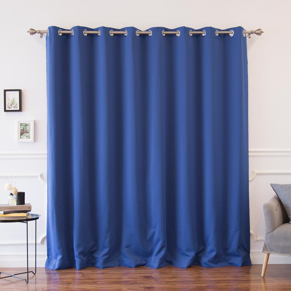 Silver Grommets Panels 100/% Blackout 3 Layered Bay Window Curtain 1 Navy Blue
