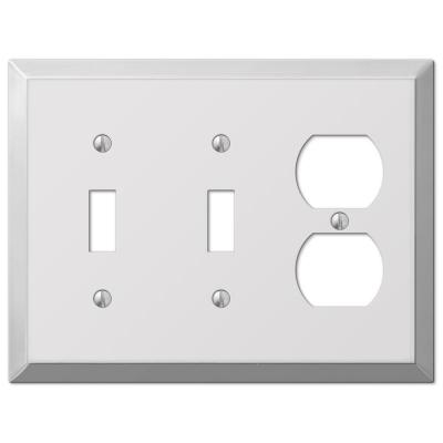 Metallic 3 Gang 2-Toggle and 1-Duplex Steel Wall Plate - Polished Chrome